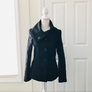 4/$25  H&M Black Funnel Button Collar Pea Coat